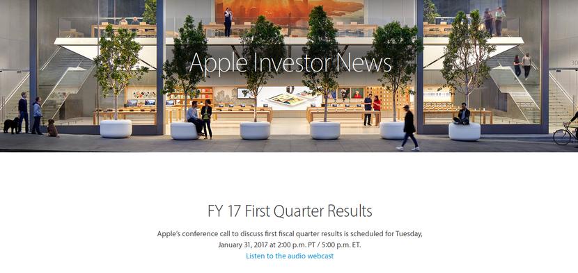 Página inversores de Apple; Primer trimestre fiscal de 2017