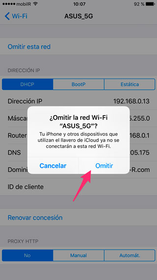 Confirmar Omitir red WiFi
