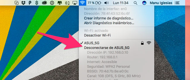 Desconectar red WiFi Mac