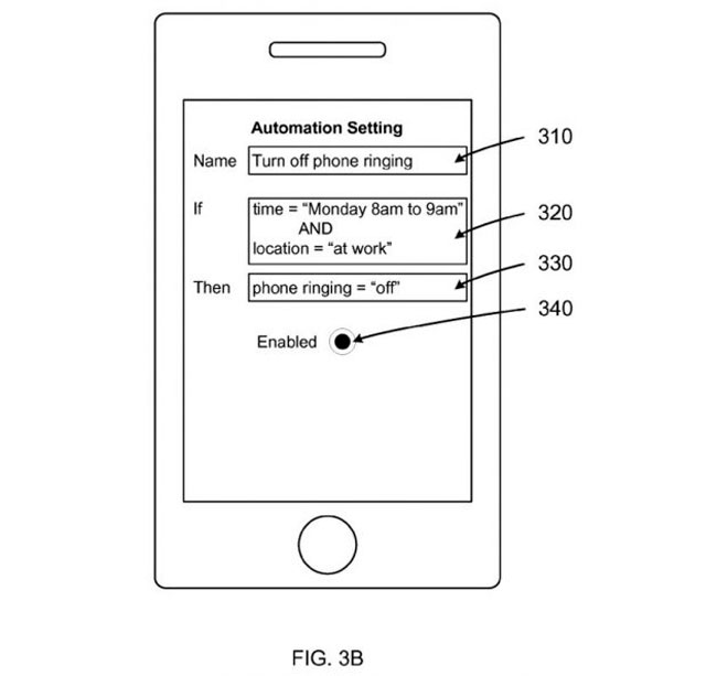 Esquema de nueva patente de automatización de Apple
