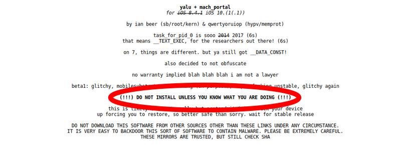 Yalu jailbreak iOS 10.1.1
