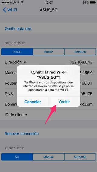Confirmar Omitir red WiFi