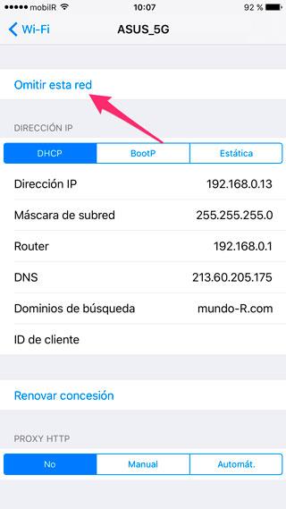 Omitir red WiFi en iOS