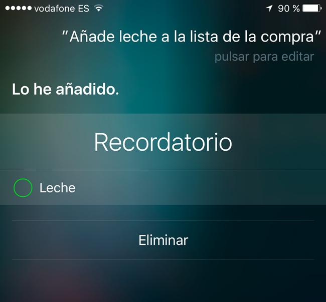 Añadir productos a la lista de la compra con Siri