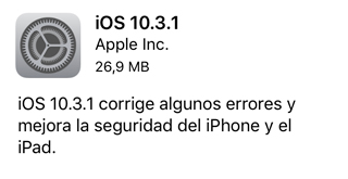 iOS 10.3.1 ya disponible